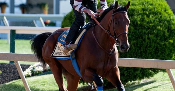 American Pharoah is the 10-11 betting favorite for the Belmont Stakes. (Photo credit: Maryland Jockey Club)