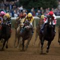 Rachel's Valentina (center) seen here in her runner up finish in the Breeders' Cup Juvenile Fillies (G1) is the morning line favorite for the $1 million Kentucky Oaks (G1) on Friday. (Photo credit: Breeders' Cup Ltd.)