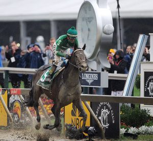 Exaggerator won Saturday's Preakness Stakes (G1), ending the Triple Crown bid of Nyquist (Photo credit: Maryland Jockey Club).
