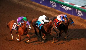 California Chrome (far left) was third in the '14 Breeders' Cup Classic and the early favorite for this year's edition (Photo credit: Breeders' Cup Ltd.)