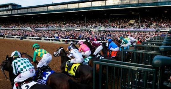 The field breaks from the gate in the 2015 Breeders' Cup Distaff (G1), won by now retired Stopchargingmaria (Photo credit: Breeders' Cup Ltd.).