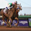 ARCADIA, CA - NOVEMBER 5: Arrogate #10, ridden by Mike Smith, wins the the Breeders' Cup Classic ahead of California Chrome #4, ridden by Victor Espinoza, during day two of the 2016 Breeders' Cup World Championships at Santa Anita Park on November 5, 2016 in Arcadia, California. (Photo by Bob Mayberger/Eclipse Sportswire/Breeders Cup)
